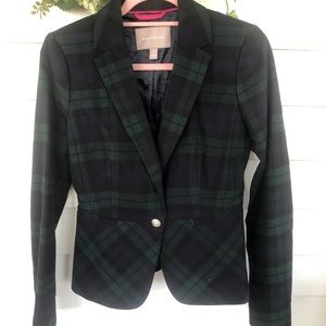 BR blue green Tartan single button blazer